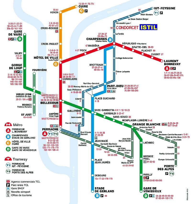 Lyon France Metro Map.Lyon Subway Map Online Map